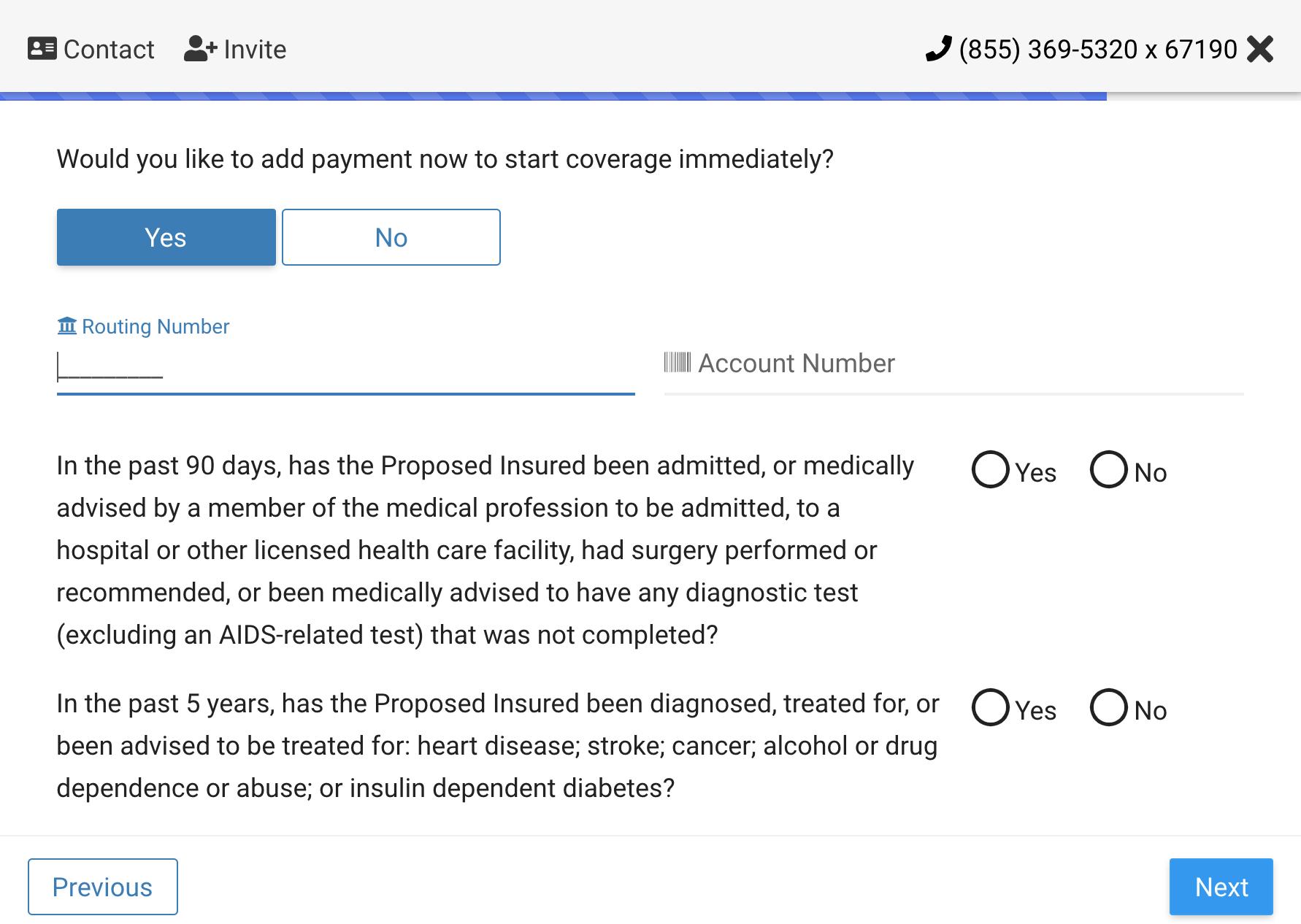 Temporary Insurance Screenshot